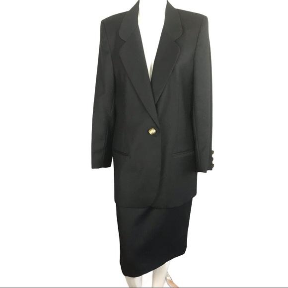 Vintage 100% Virgin Wool Black Career Skirt Suit